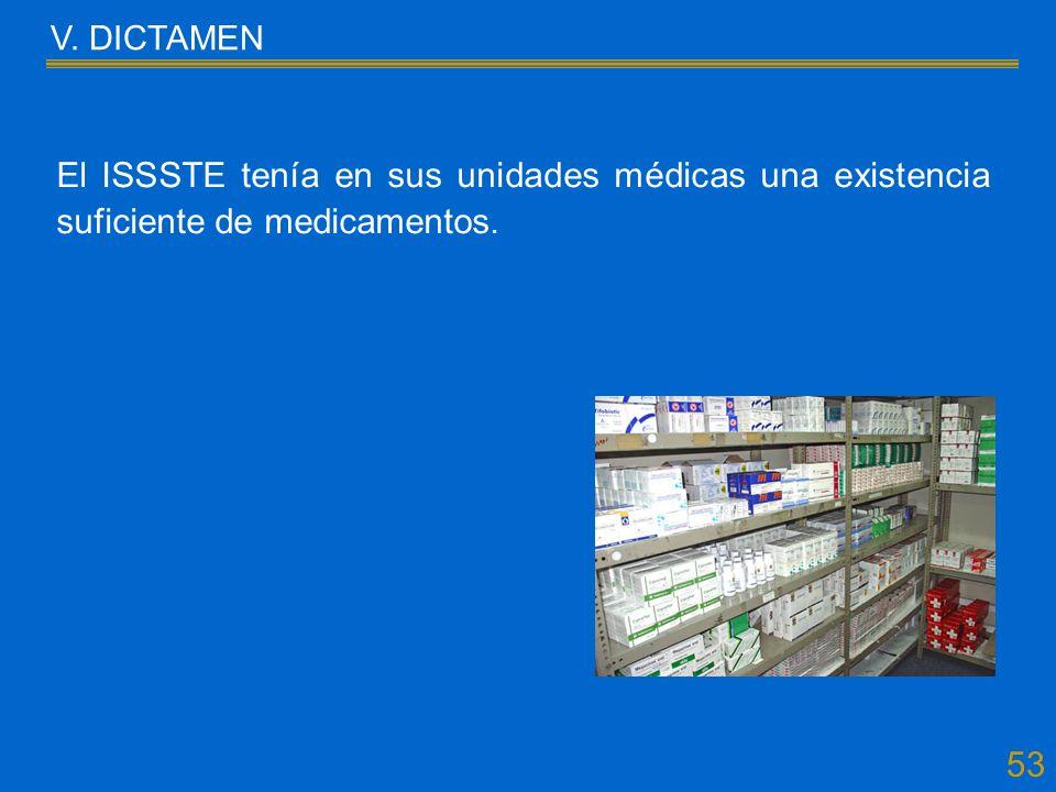 53 V. DICTAMEN El ISSSTE tenía en sus unidades médicas una existencia suficiente de medicamentos.