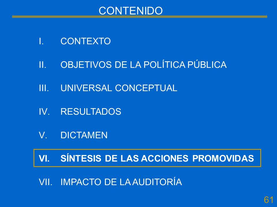 I.CONTEXTO II.OBJETIVOS DE LA POLÍTICA PÚBLICA III.UNIVERSAL CONCEPTUAL IV.RESULTADOS V.DICTAMEN VI.SÍNTESIS DE LAS ACCIONES PROMOVIDAS VII.IMPACTO DE LA AUDITORÍA 61 CONTENIDO