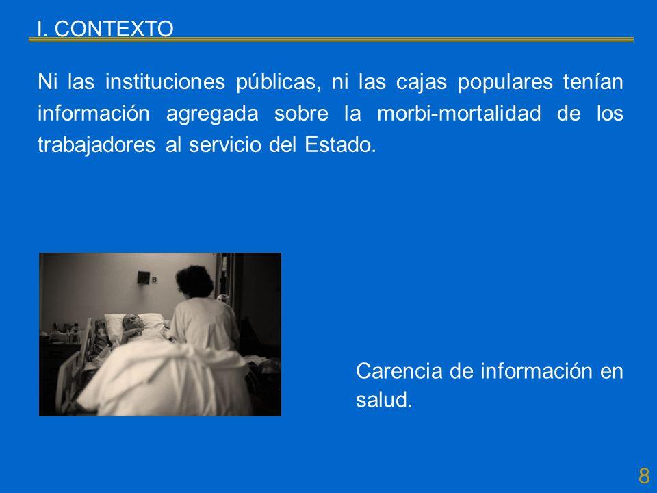 8 I. CONTEXTO Ni las instituciones públicas, ni las cajas populares tenían información agregada sobre la morbi-mortalidad de los trabajadores al servi