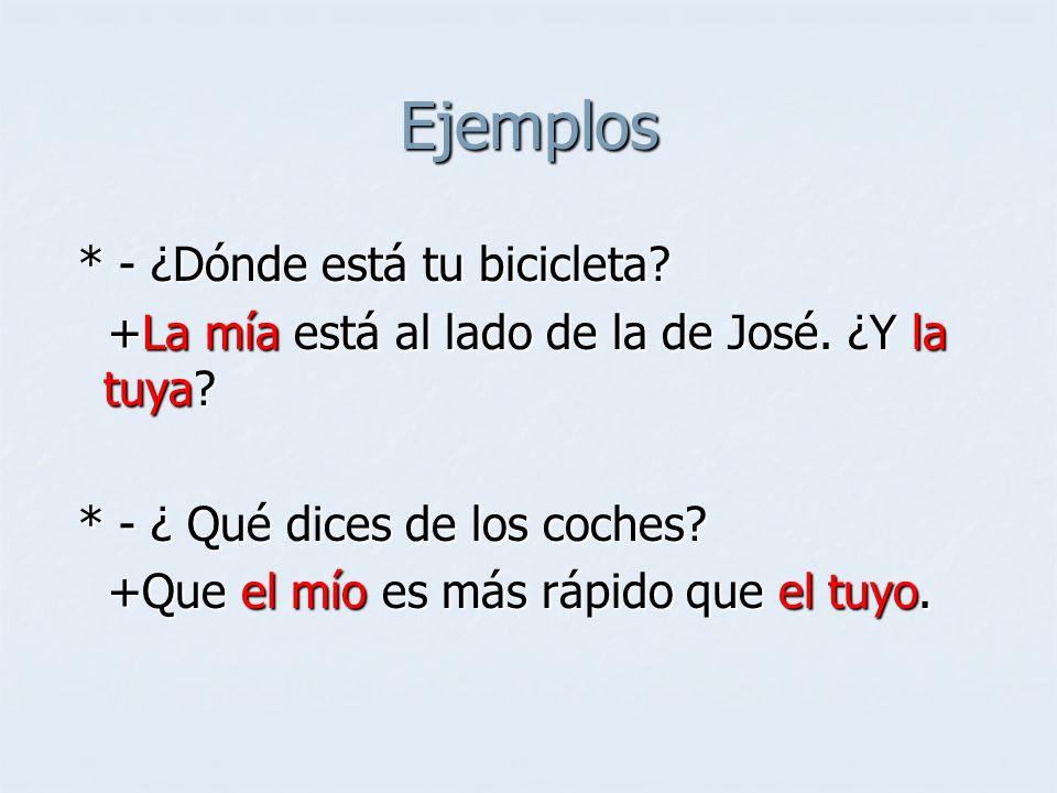 Ejemplos * - ¿Dónde está tu bicicleta? * - ¿Dónde está tu bicicleta? +La mía está al lado de la de José. ¿Y la tuya? +La mía está al lado de la de Jos