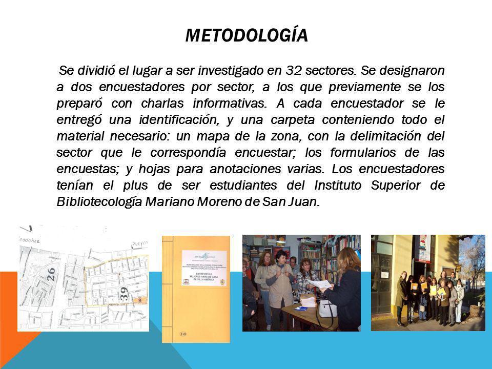 METODOLOGÍA Se dividió el lugar a ser investigado en 32 sectores.