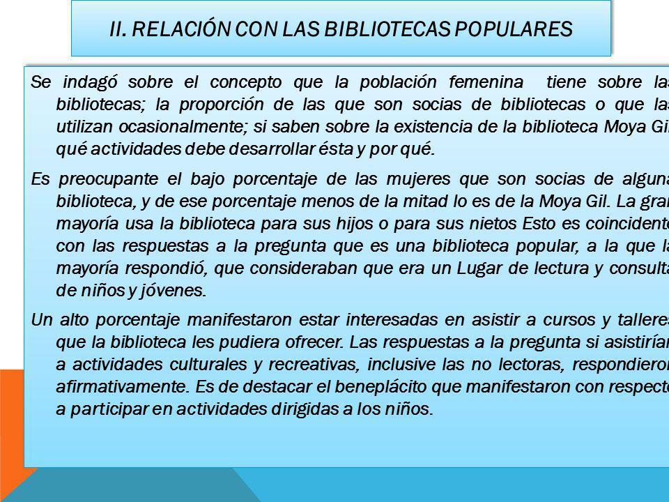 II. RELACIÓN CON LAS BIBLIOTECAS POPULARES Se indagó sobre el concepto que la población femenina tiene sobre las bibliotecas; la proporción de las que