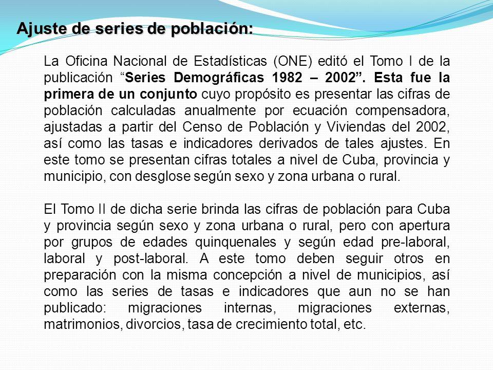 Ajuste de series de población: La Oficina Nacional de Estadísticas (ONE) editó el Tomo I de la publicación Series Demográficas 1982 – 2002.