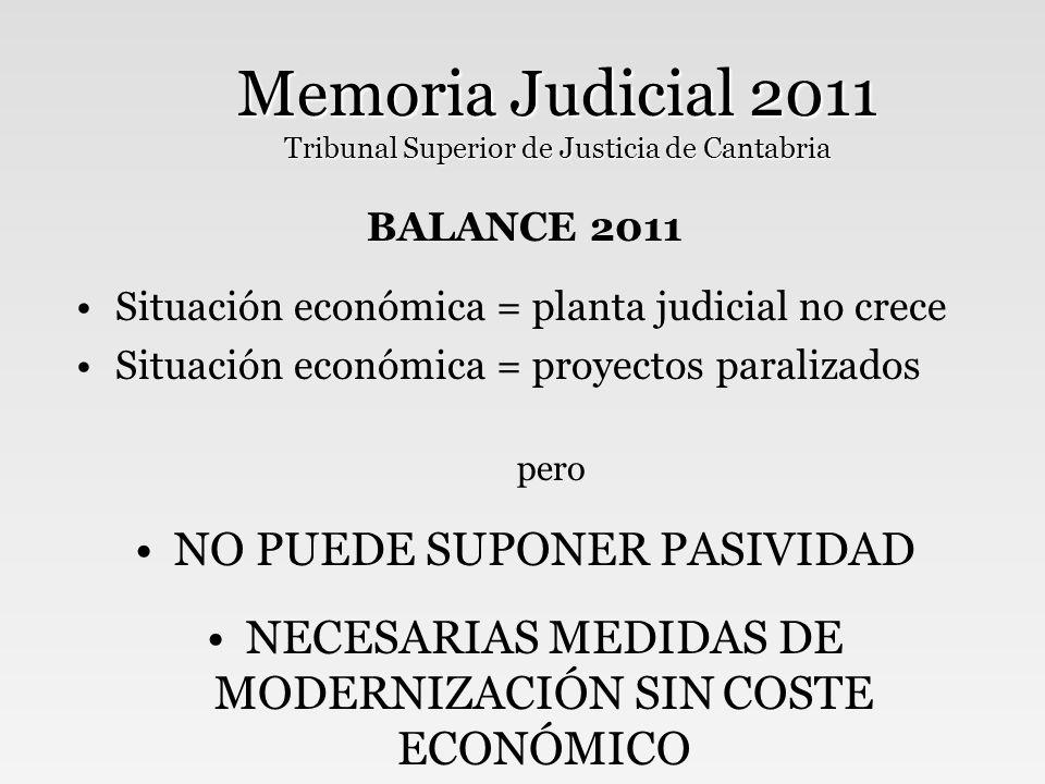 Memoria Judicial 2011 Tribunal Superior de Justicia de Cantabria BALANCE 2011 Situación económica = planta judicial no crece Situación económica = proyectos paralizados pero NO PUEDE SUPONER PASIVIDAD NECESARIAS MEDIDAS DE MODERNIZACIÓN SIN COSTE ECONÓMICO