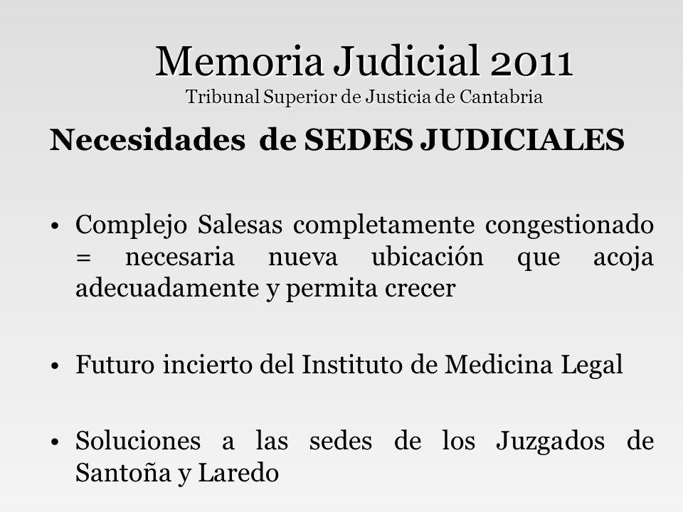 Memoria Judicial 2011 Tribunal Superior de Justicia de Cantabria Necesidades de PERSONAL Mejoras en los tiempos de respuesta de los equipos psicosociales y de peritación-tasación Formación adecuada del personal interino Más funcionarios en el Decanato de Santander