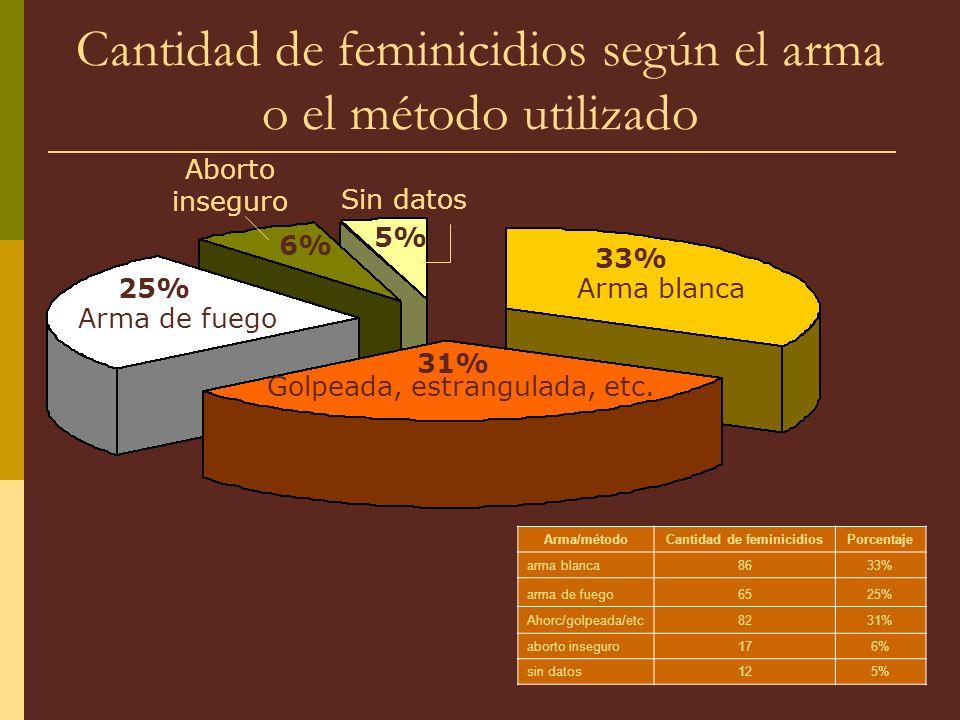 Cantidad de feminicidios según el arma o el método utilizado Arma/métodoCantidad de feminicidiosPorcentaje arma blanca8633% arma de fuego6525% Ahorc/golpeada/etc8231% aborto inseguro176% sin datos125% 33% 25% 31% Golpeada, estrangulada, etc.