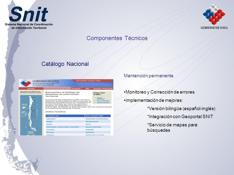 Mantención permanente Monitoreo y Corrección de errores Implementación de mejoras: *Versión bilingüe (español-inglés) *Integración con Geoportal SNIT *Servicio de mapas para búsquedas Catálogo Nacional Componentes Técnicos