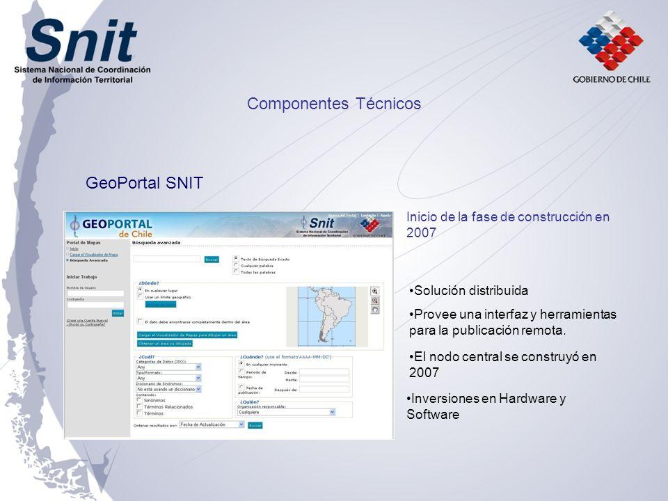 Componentes Técnicos GeoPortal SNIT Inicio de la fase de construcción en 2007 Solución distribuida Provee una interfaz y herramientas para la publicac