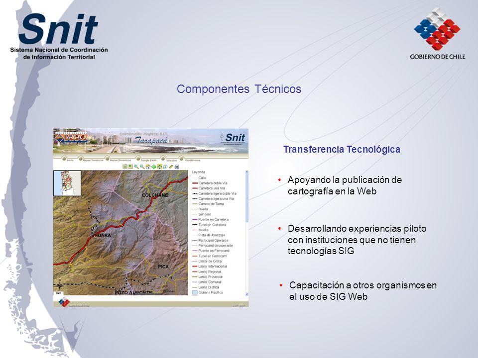 Apoyando la publicación de cartografía en la Web Desarrollando experiencias piloto con instituciones que no tienen tecnologías SIG Capacitación a otros organismos en el uso de SIG Web Componentes Técnicos Transferencia Tecnológica