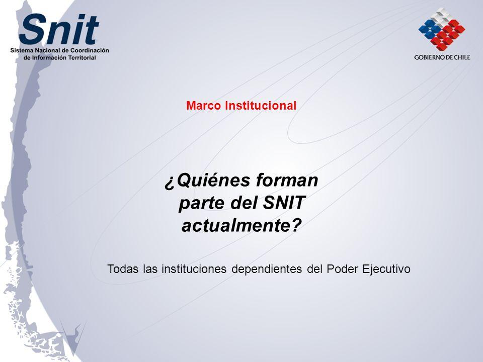 ¿Quiénes forman parte del SNIT actualmente? Todas las instituciones dependientes del Poder Ejecutivo Marco Institucional