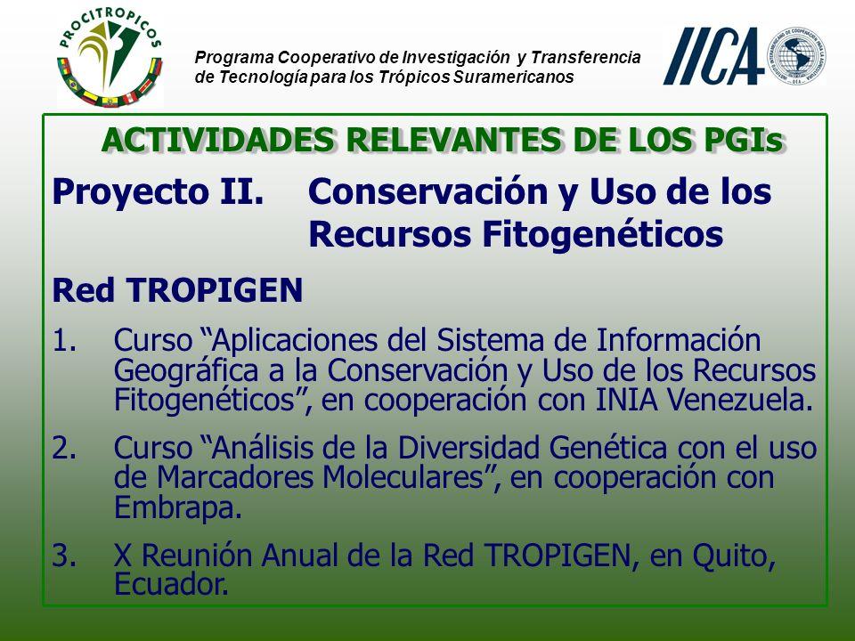 Programa Cooperativo de Investigación y Transferencia de Tecnología para los Trópicos Suramericanos ACTIVIDADES RELEVANTES DE LOS PGIs Proyecto II.Conservación y Uso de los Recursos Fitogenéticos Red TROPIGEN 1.Curso Aplicaciones del Sistema de Información Geográfica a la Conservación y Uso de los Recursos Fitogenéticos, en cooperación con INIA Venezuela.