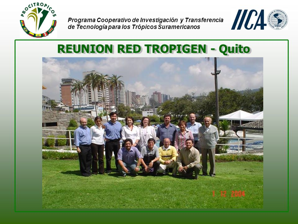 Programa Cooperativo de Investigación y Transferencia de Tecnología para los Trópicos Suramericanos REUNION RED TROPIGEN - Quito