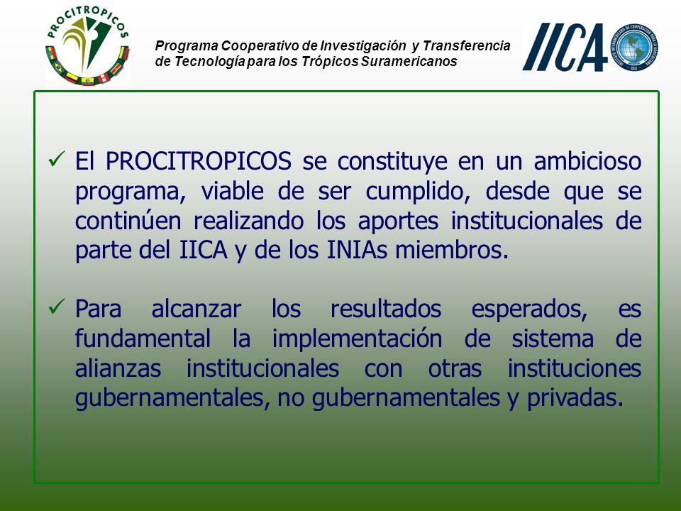 Programa Cooperativo de Investigación y Transferencia de Tecnología para los Trópicos Suramericanos El PROCITROPICOS se constituye en un ambicioso programa, viable de ser cumplido, desde que se continúen realizando los aportes institucionales de parte del IICA y de los INIAs miembros.
