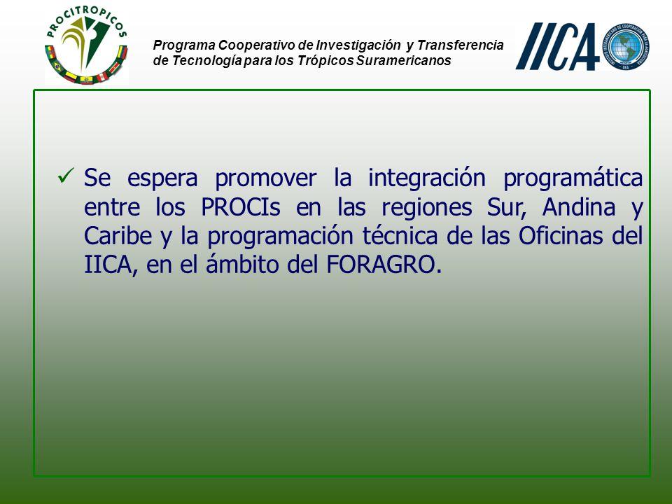 Programa Cooperativo de Investigación y Transferencia de Tecnología para los Trópicos Suramericanos Se espera promover la integración programática entre los PROCIs en las regiones Sur, Andina y Caribe y la programación técnica de las Oficinas del IICA, en el ámbito del FORAGRO.