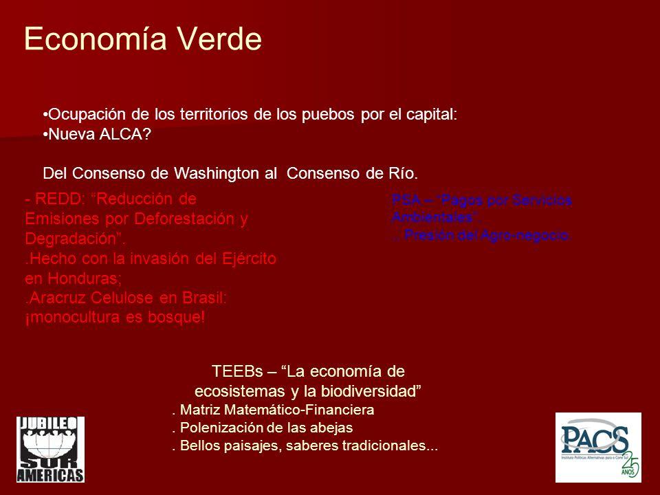 Economía Verde Ocupación de los territorios de los puebos por el capital: Nueva ALCA.