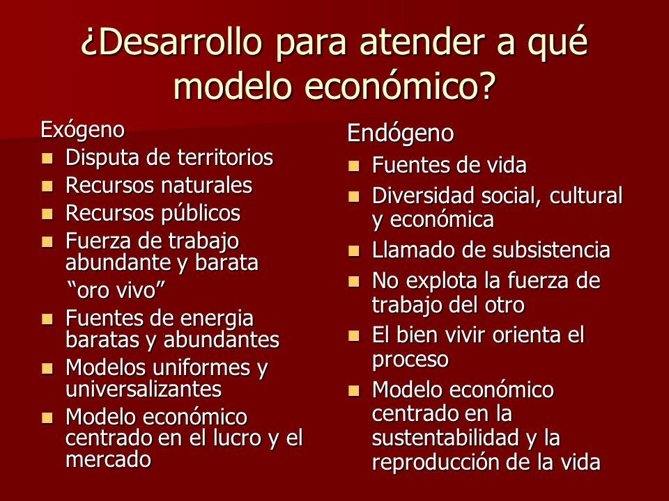 ¿Desarrollo para atender a qué modelo económico.