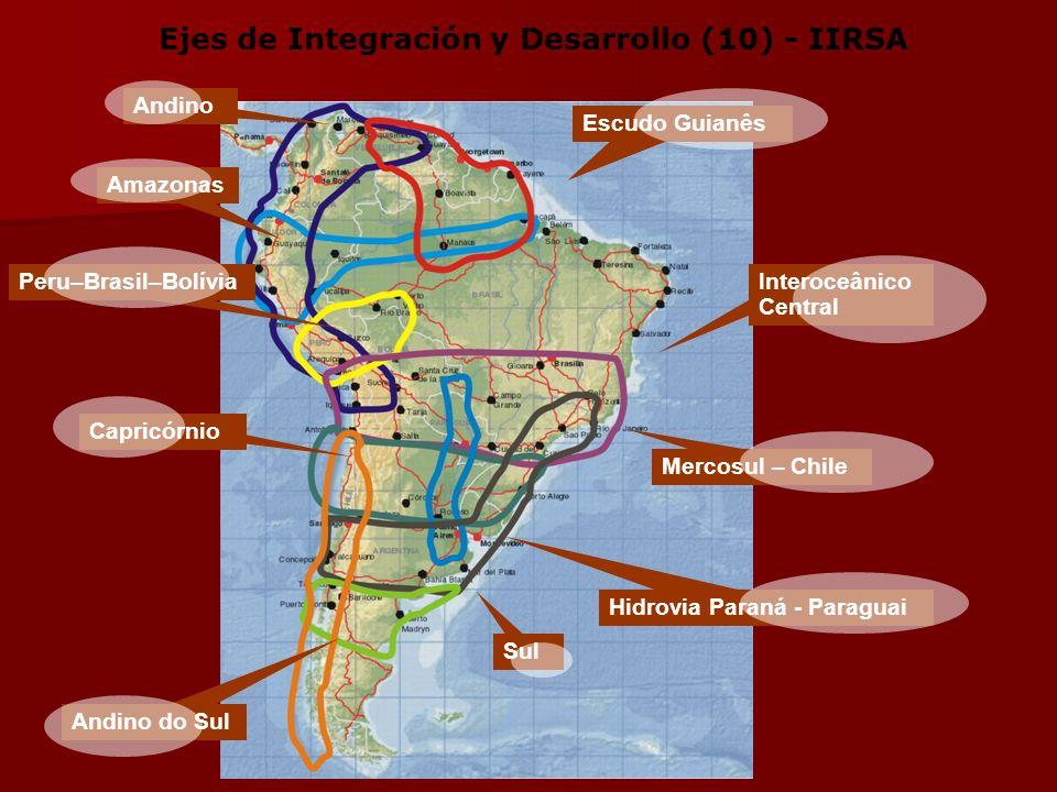 Mercosul – Chile Andino Interoceânico Central Amazonas Escudo Guianês Capricórnio Peru–Brasil–Bolívia Sul Hidrovia Paraná - Paraguai Andino do Sul Ejes de Integración y Desarrollo (10) - IIRSA