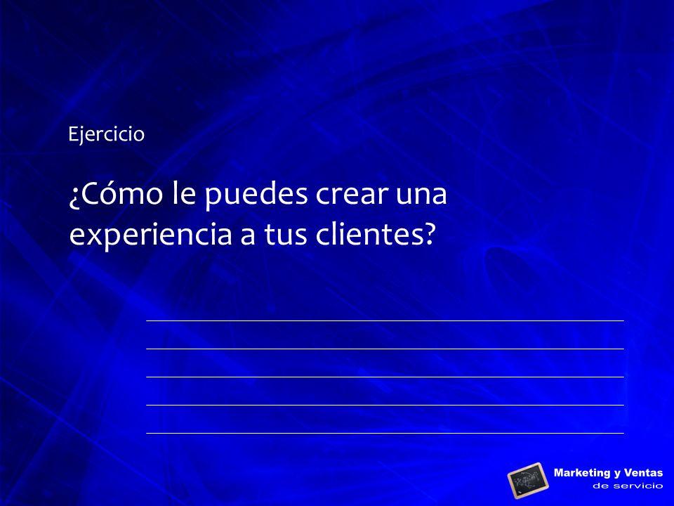 Ejercicio ¿Cómo le puedes crear una experiencia a tus clientes?