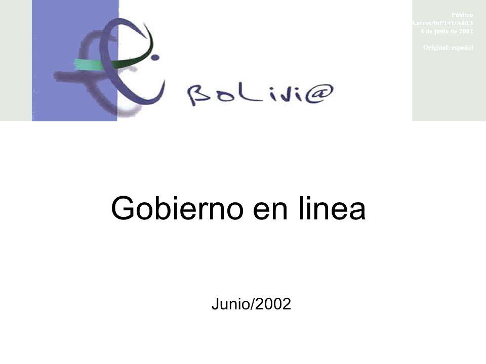 Gobierno en linea Junio/2002 Público FTAA.ecom/inf/141/Add.3 4 de junio de 2002 Original: español