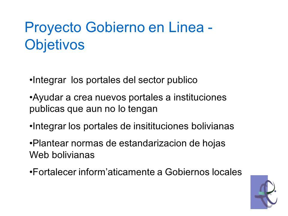 Integrar los portales del sector publico Ayudar a crea nuevos portales a instituciones publicas que aun no lo tengan Integrar los portales de insitituciones bolivianas Plantear normas de estandarizacion de hojas Web bolivianas Fortalecer informaticamente a Gobiernos locales Proyecto Gobierno en Linea - Objetivos