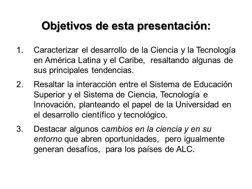 Objetivos de esta presentación: 1.Caracterizar el desarrollo de la Ciencia y la Tecnología en América Latina y el Caribe, resaltando algunas de sus principales tendencias.
