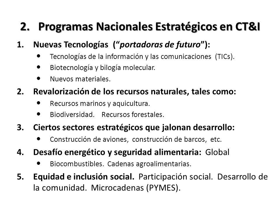 2. Programas Nacionales Estratégicos en CT&I 1.Nuevas Tecnologías (portadoras de futuro): Tecnologías de la información y las comunicaciones (TICs). B