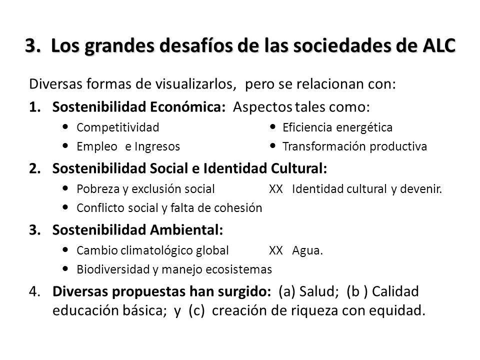 3. Los grandes desafíos de las sociedades de ALC Diversas formas de visualizarlos, pero se relacionan con: 1.Sostenibilidad Económica: Aspectos tales