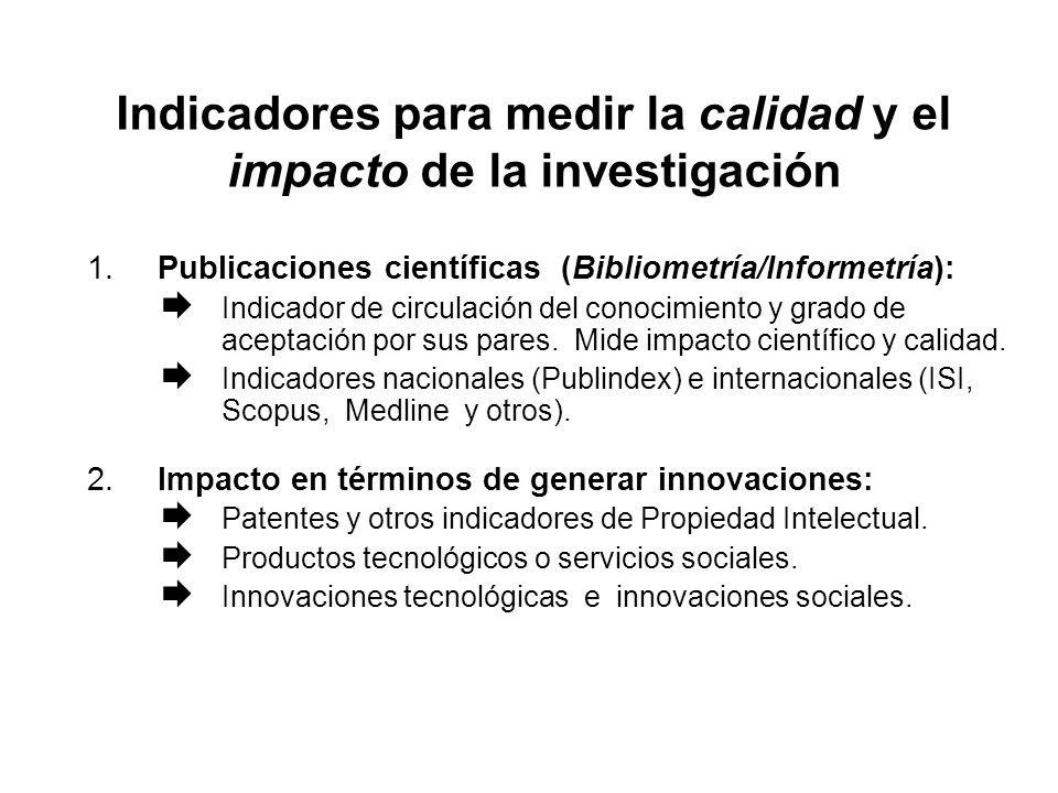 Indicadores para medir la calidad y el impacto de la investigación 1.Publicaciones científicas (Bibliometría/Informetría): Indicador de circulación del conocimiento y grado de aceptación por sus pares.