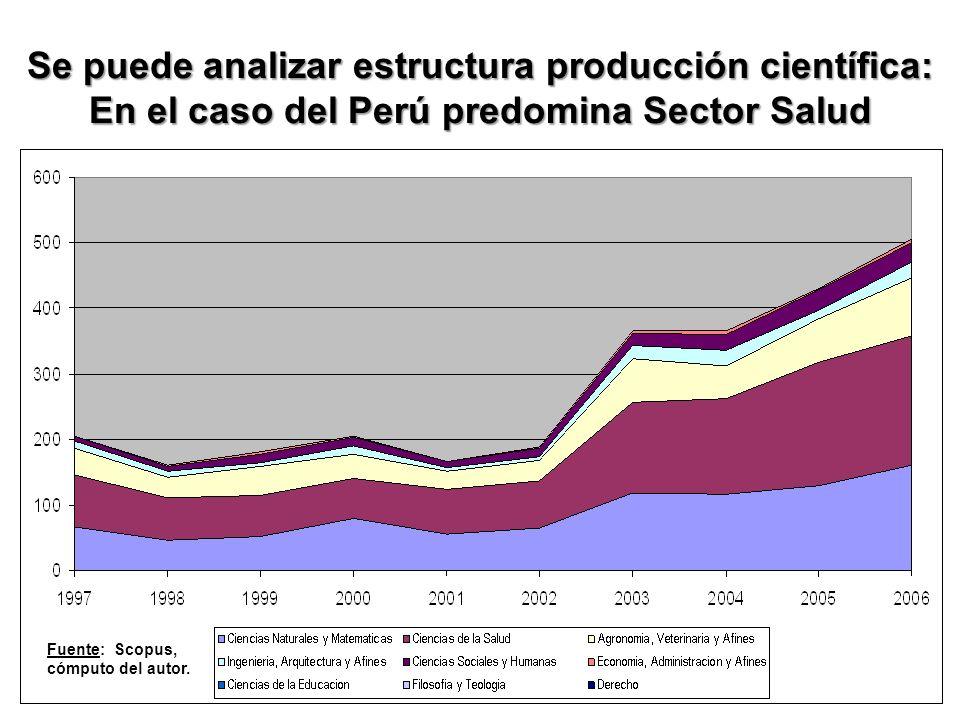 Se puede analizar estructura producción científica: En el caso del Perú predomina Sector Salud Fuente: Scopus, cómputo del autor.