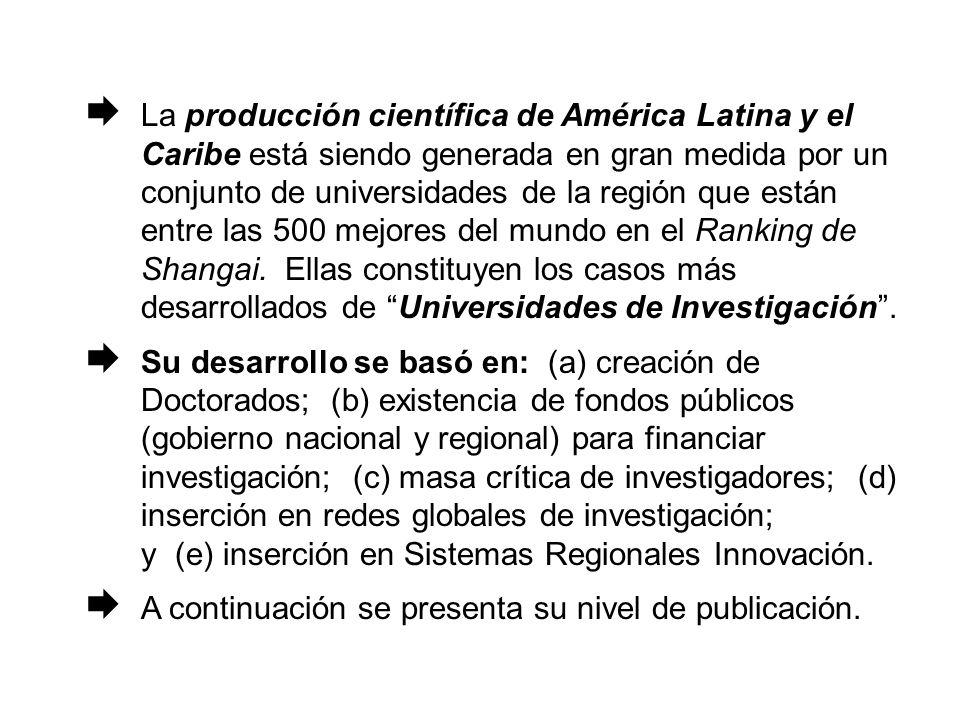 La producción científica de América Latina y el Caribe está siendo generada en gran medida por un conjunto de universidades de la región que están entre las 500 mejores del mundo en el Ranking de Shangai.