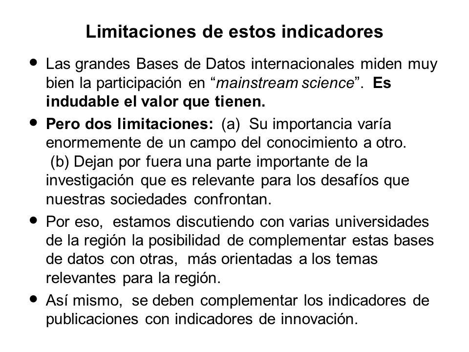 Limitaciones de estos indicadores Las grandes Bases de Datos internacionales miden muy bien la participación en mainstream science.