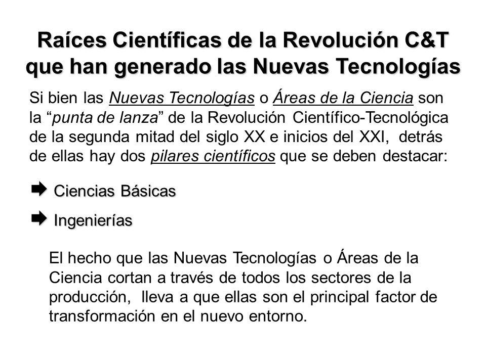 Raíces Científicas de la Revolución C&T que han generado las Nuevas Tecnologías Si bien las Nuevas Tecnologías o Áreas de la Ciencia son la punta de lanza de la Revolución Científico-Tecnológica de la segunda mitad del siglo XX e inicios del XXI, detrás de ellas hay dos pilares científicos que se deben destacar: Ciencias Básicas Ciencias Básicas Ingenierías Ingenierías El hecho que las Nuevas Tecnologías o Áreas de la Ciencia cortan a través de todos los sectores de la producción, lleva a que ellas son el principal factor de transformación en el nuevo entorno.
