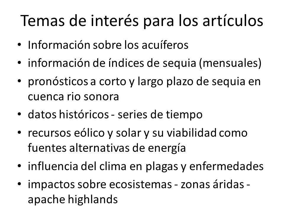 Temas de interés para los artículos Información sobre los acuíferos información de índices de sequia (mensuales) pronósticos a corto y largo plazo de