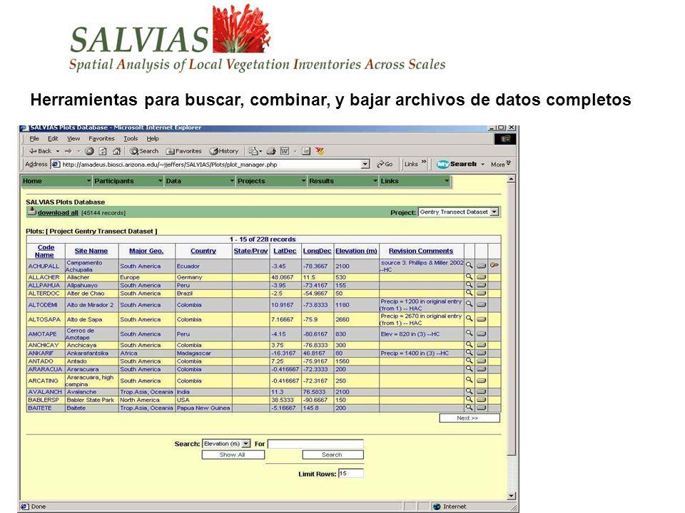 Herramientas para buscar, combinar, y bajar archivos de datos completos
