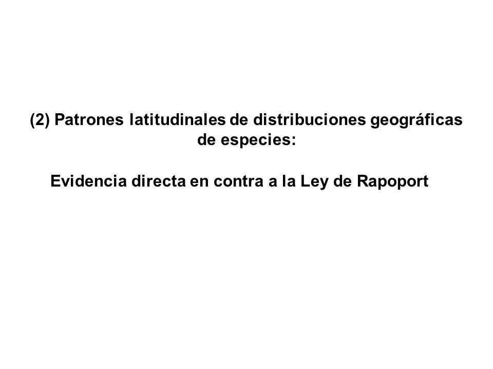 (2) Patrones latitudinales de distribuciones geográficas de especies: Evidencia directa en contra a la Ley de Rapoport