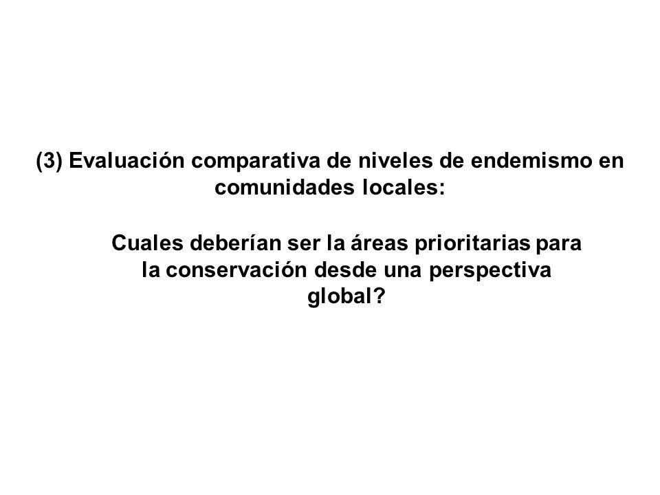 (3) Evaluación comparativa de niveles de endemismo en comunidades locales: Cuales deberían ser la áreas prioritarias para la conservación desde una perspectiva global