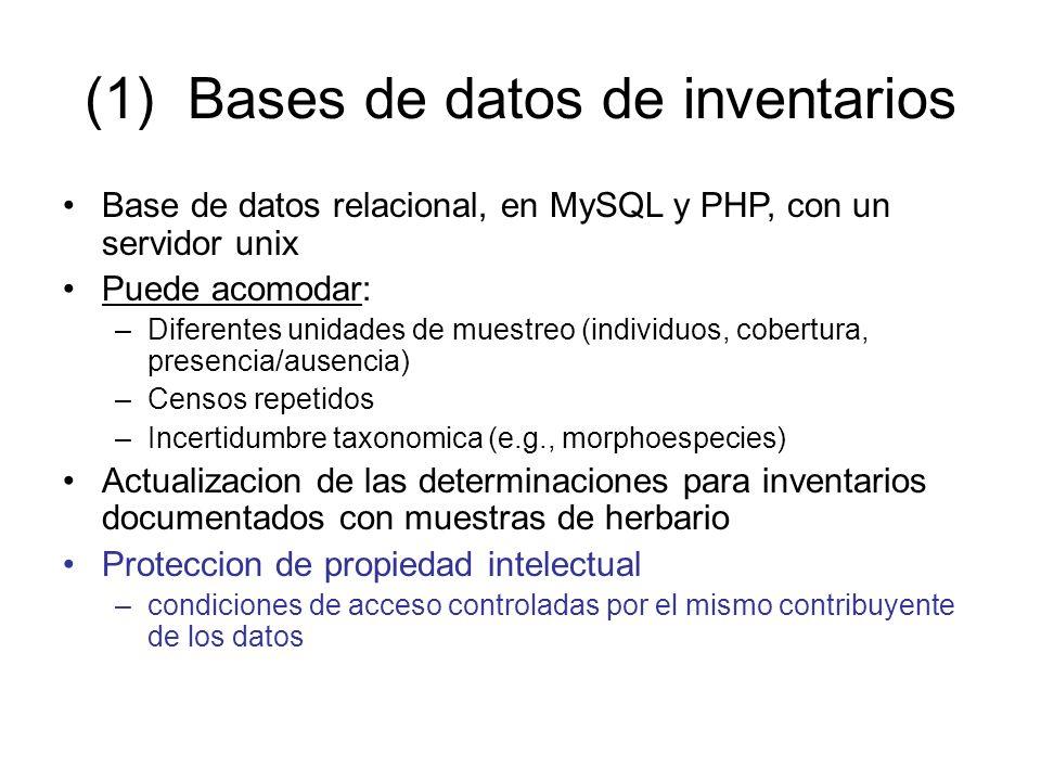 (1) Bases de datos de inventarios Base de datos relacional, en MySQL y PHP, con un servidor unix Puede acomodar: –Diferentes unidades de muestreo (individuos, cobertura, presencia/ausencia) –Censos repetidos –Incertidumbre taxonomica (e.g., morphoespecies) Actualizacion de las determinaciones para inventarios documentados con muestras de herbario Proteccion de propiedad intelectual –condiciones de acceso controladas por el mismo contribuyente de los datos