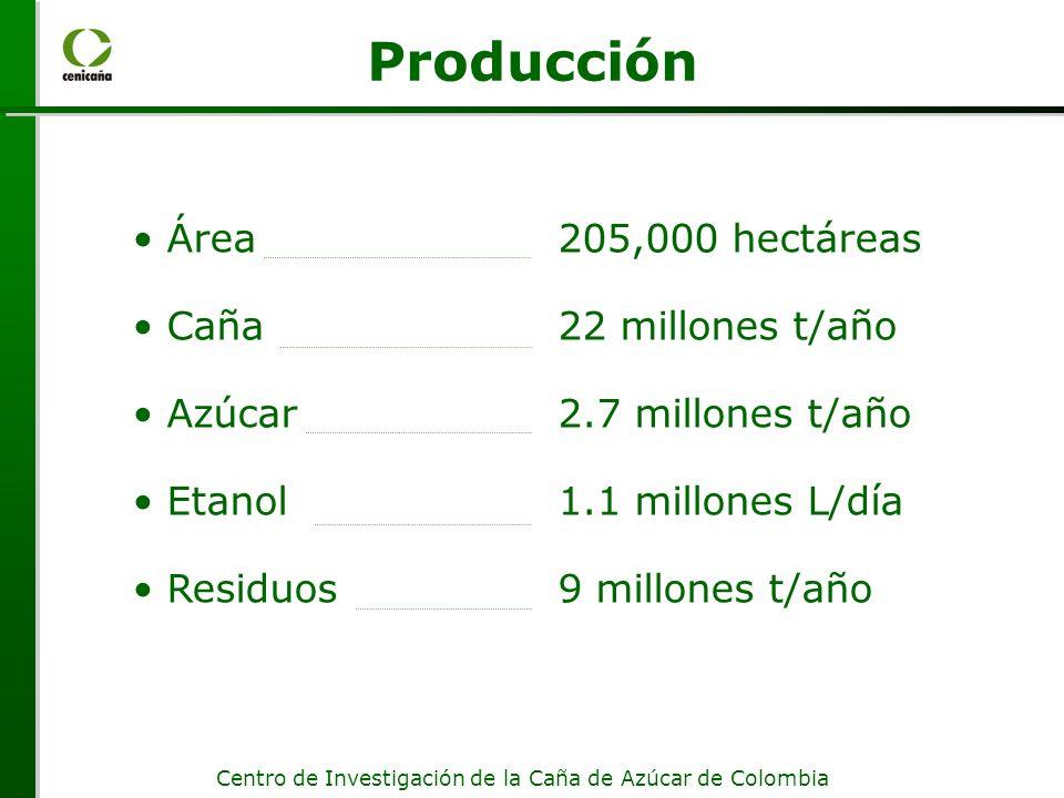 Centro de Investigación de la Caña de Azúcar de Colombia Área205,000 hectáreas Caña22 millones t/año Azúcar2.7 millones t/año Etanol1.1 millones L/día Residuos9 millones t/año Producción