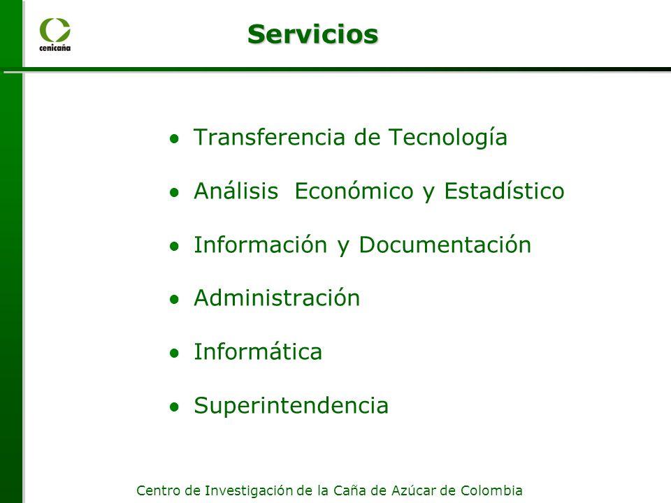 Centro de Investigación de la Caña de Azúcar de Colombia Servicios Transferencia de Tecnología Análisis Económico y Estadístico Información y Documentación Administración Informática Superintendencia