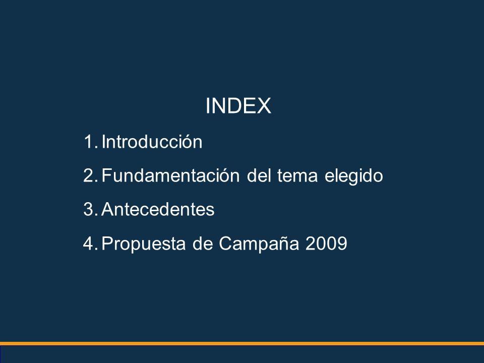 INDEX 1.Introducción 2.Fundamentación del tema elegido 3.Antecedentes 4.Propuesta de Campaña 2009