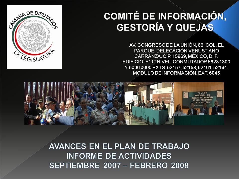 COMITÉ DE INFORMACIÓN, GESTORÍA Y QUEJAS AV. CONGRESO DE LA UNIÓN, 66; COL.