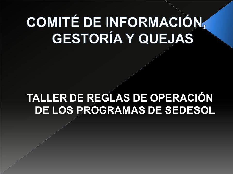 TALLER DE REGLAS DE OPERACIÓN DE LOS PROGRAMAS DE SEDESOL