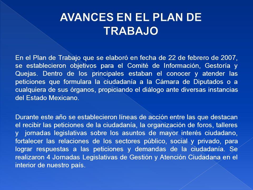 En el Plan de Trabajo que se elaboró en fecha de 22 de febrero de 2007, se establecieron objetivos para el Comité de Información, Gestoría y Quejas.