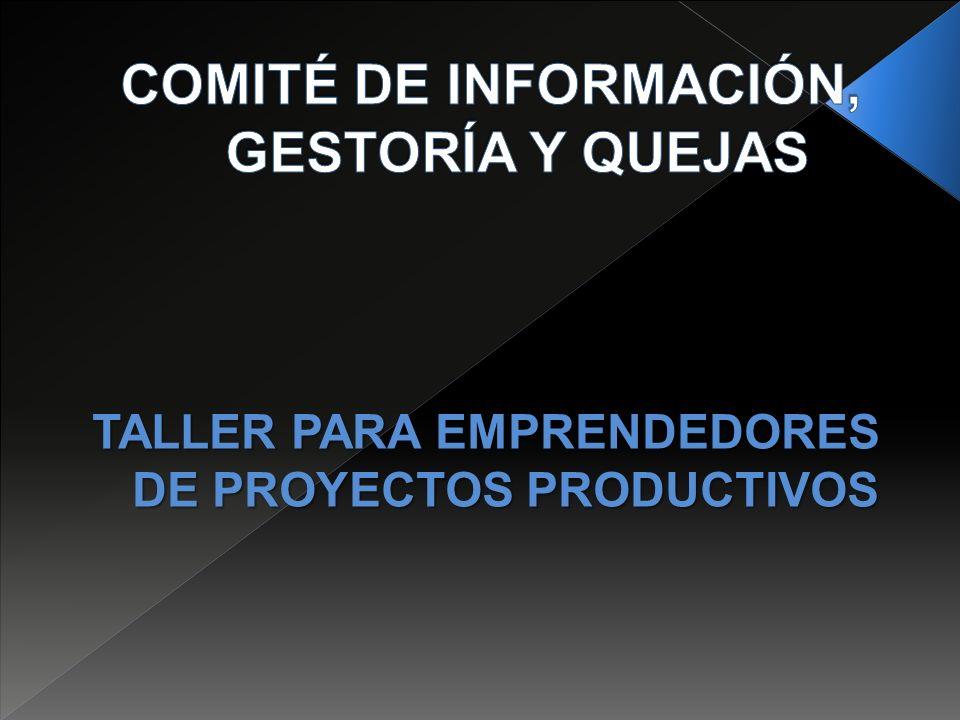 TALLER PARA EMPRENDEDORES DE PROYECTOS PRODUCTIVOS