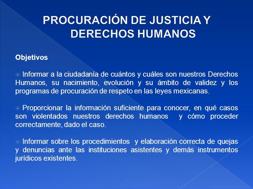 Objetivos Informar a la ciudadanía de cuántos y cuáles son nuestros Derechos Humanos, su nacimiento, evolución y su ámbito de validez y los programas de procuración de respeto en las leyes mexicanas.