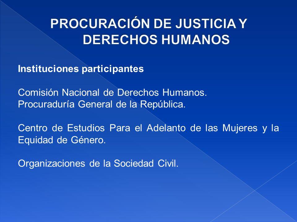 Instituciones participantes Comisión Nacional de Derechos Humanos.