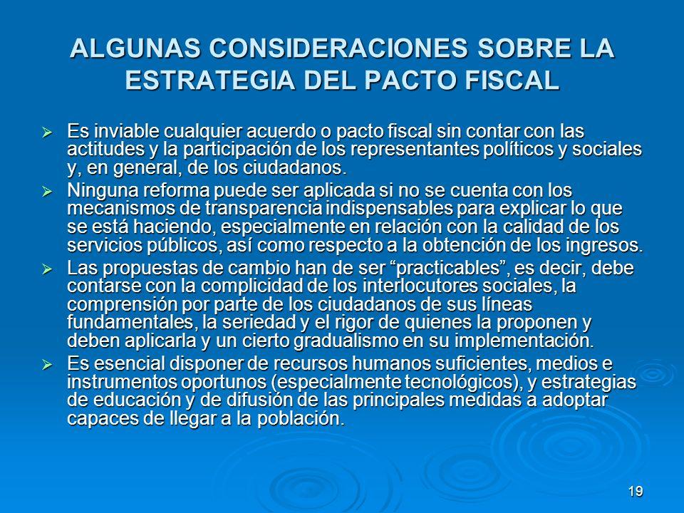 19 ALGUNAS CONSIDERACIONES SOBRE LA ESTRATEGIA DEL PACTO FISCAL Es inviable cualquier acuerdo o pacto fiscal sin contar con las actitudes y la participación de los representantes políticos y sociales y, en general, de los ciudadanos.