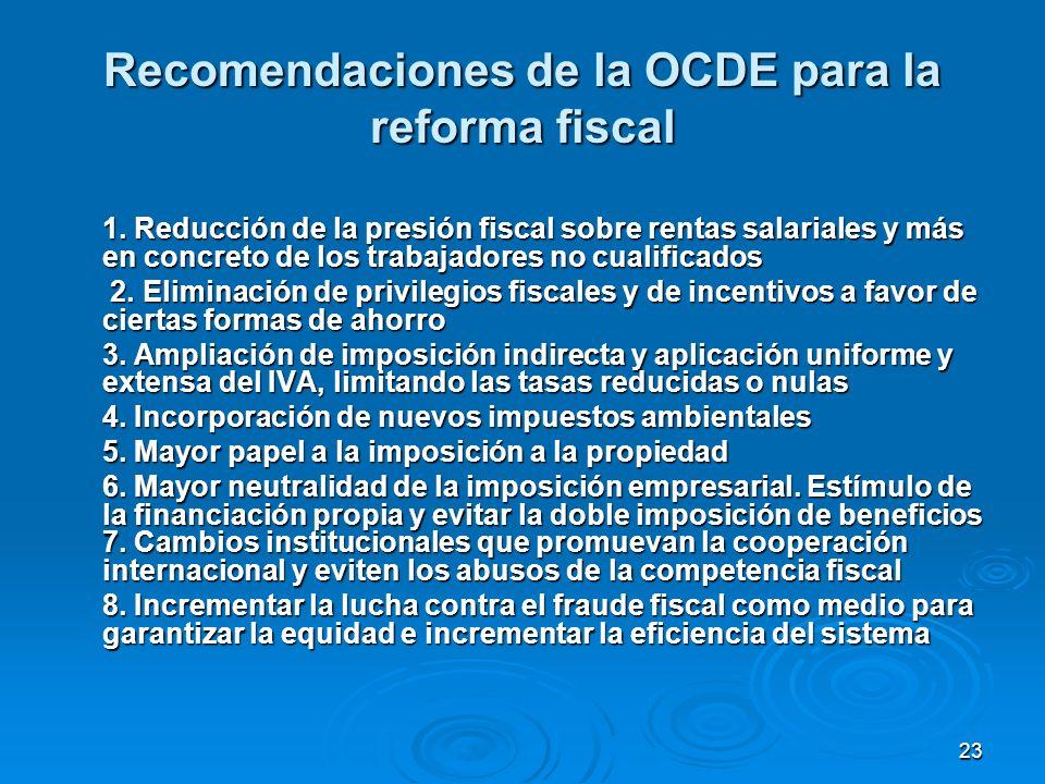 23 Recomendaciones de la OCDE para la reforma fiscal 1.