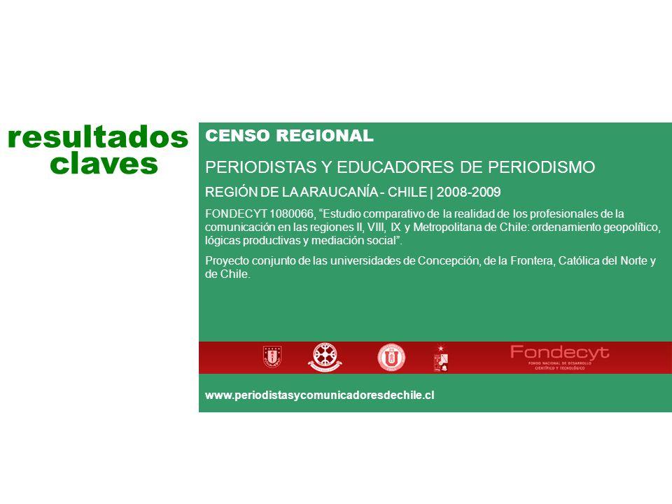 resultados claves CENSO REGIONAL PERIODISTAS Y EDUCADORES DE PERIODISMO REGIÓN DE LA ARAUCANÍA - CHILE | 2008-2009 FONDECYT 1080066, Estudio comparativo de la realidad de los profesionales de la comunicación en las regiones II, VIII, IX y Metropolitana de Chile: ordenamiento geopolítico, lógicas productivas y mediación social.