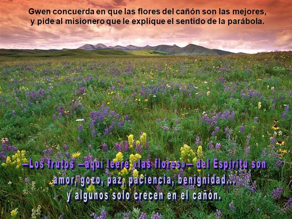 Gwen concuerda en que las flores del cañón son las mejores, y pide al misionero que le explique el sentido de la parábola.